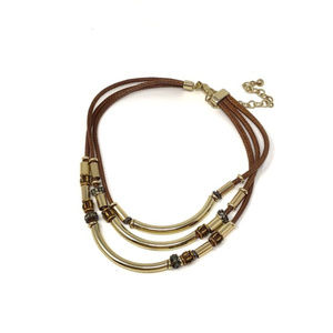 Chico's Brown and Gold Beaded Necklace
